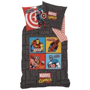 Dětské bavlněné povlečení Avengers Comics grey, 135 x 200 cm, 80 x 80 cm