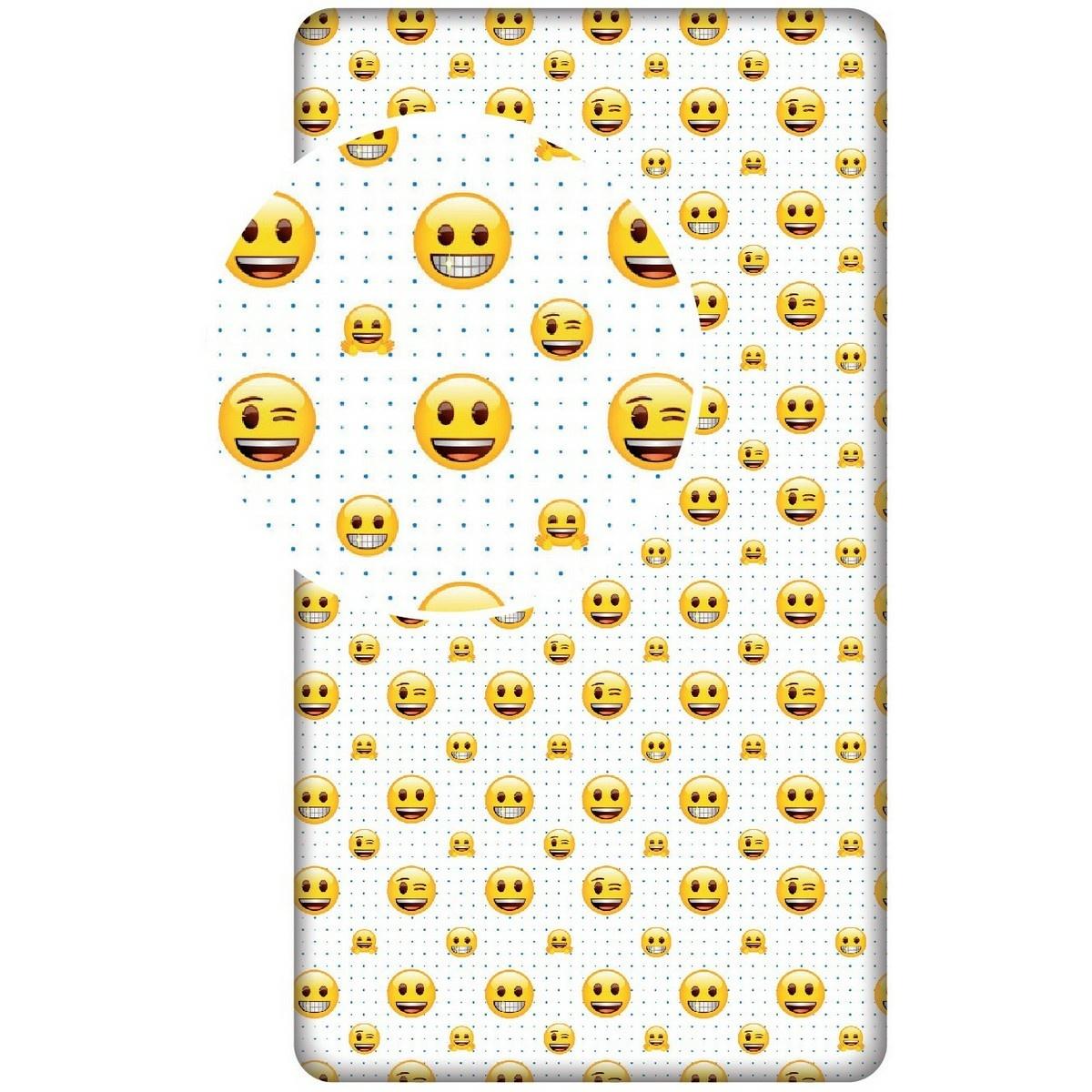 Jerry Fabrics Dětské bavlněné prostěradlo Emoji 213, 90 x 200 + 25 cm