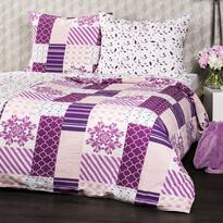Lenjerie de pat din crep 4Home Patchwork violet, 220 x 200 cm, 2 buc. 70 x 90 cm