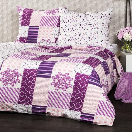 Lenjerie de pat din crep 4Home Patchwork violet, 140 x 200 cm, 70 x 90 cm