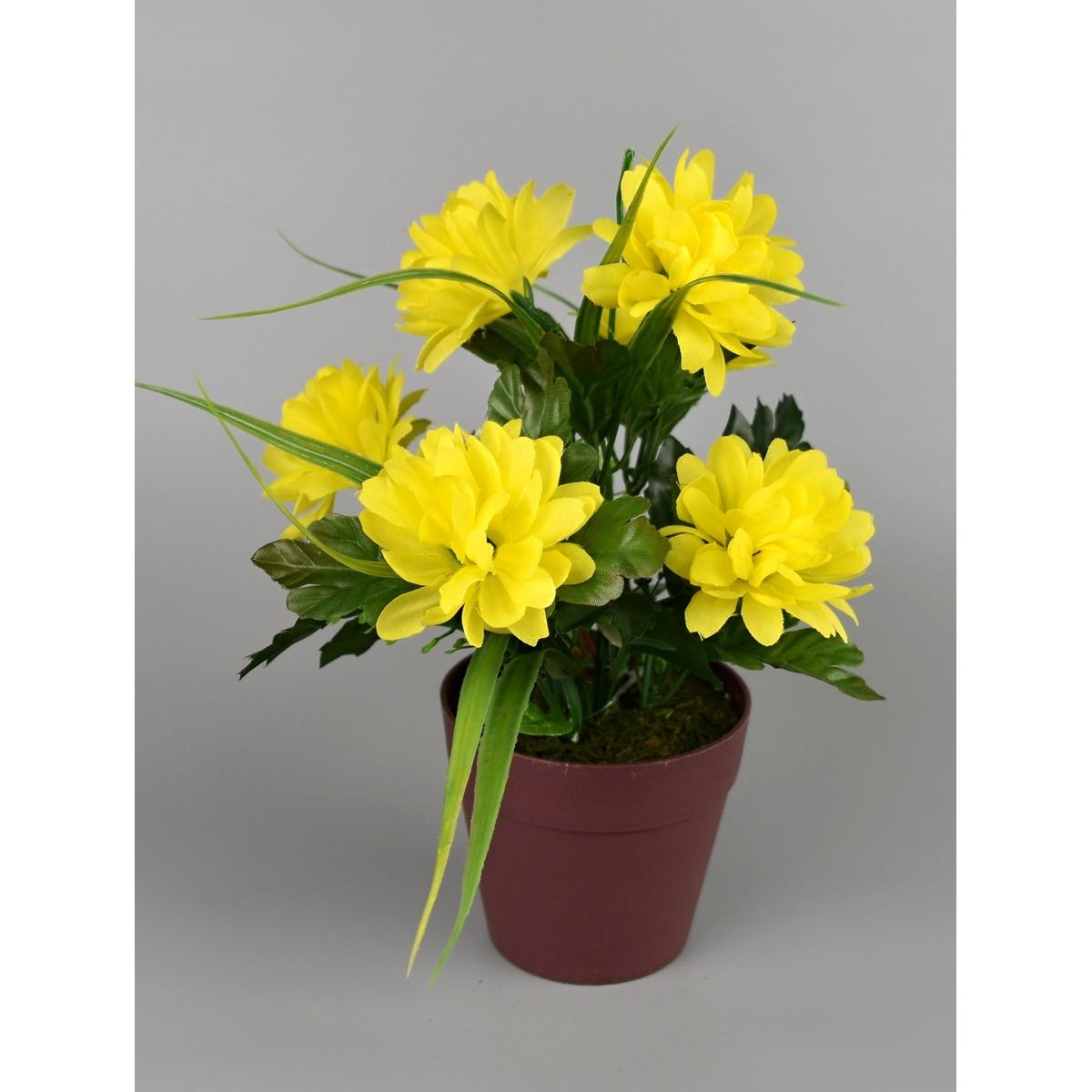 Umělá květina Chrysantéma v květináči 22 x 15 cm, žlutá