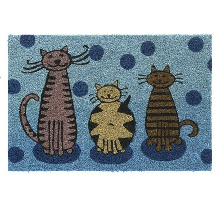 Vnitřní rohožka Cats, 40 x 60 cm, modrá, 40 x 60 cm