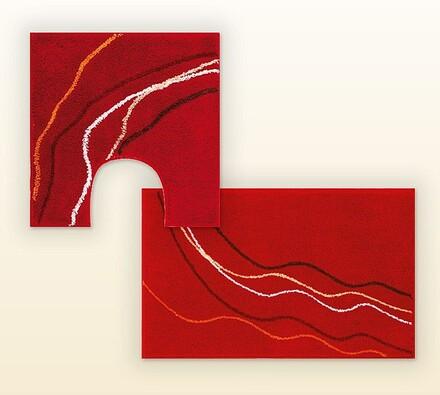 Koupelnová předložka + WC předložka GRUND červená,, červená