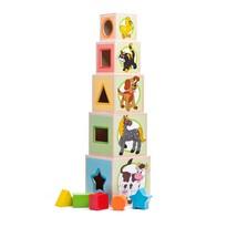 Woody Kisállatok torony öt kockával, 10,6 x 41 cm