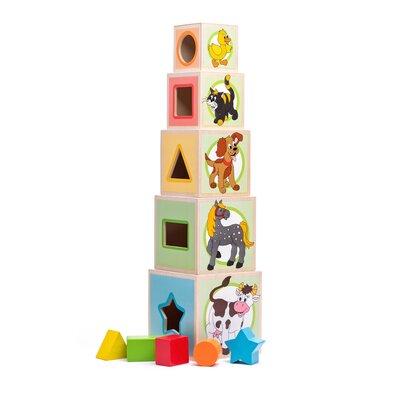 Woody Wieża z pięcioma kostkami Zwierzątka, 10,6 x 41 cm