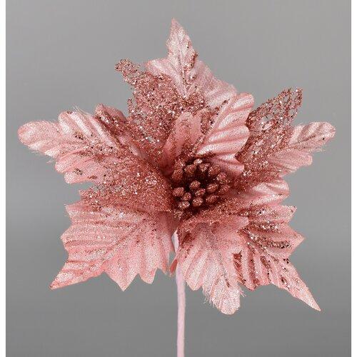 Umělá Poinsettie růžová, 25 cm