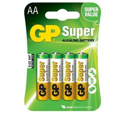Alkalické baterie, 4 ks, 15A LR6 Blistr, GP Greenc