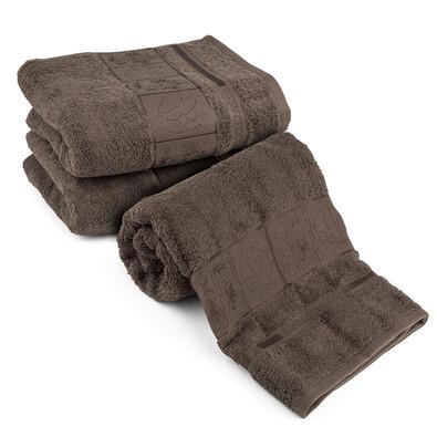 4Home Sada Bamboo tmavě hnědá osuška a ručníky, 70 x 140 cm, 2 ks 50 x 100 cm