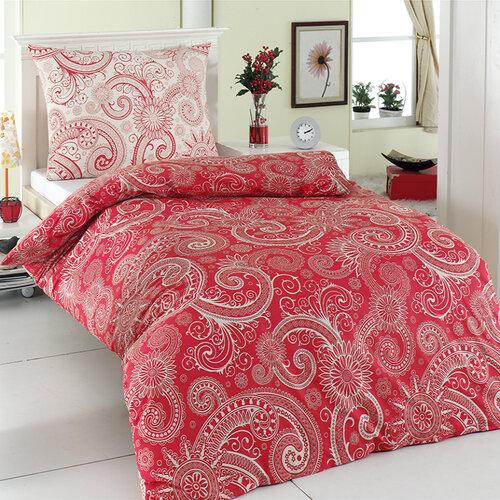 Pościel bawełniana Sal czerwony/czarny, 140 x 220 cm, 70 x 90 cm