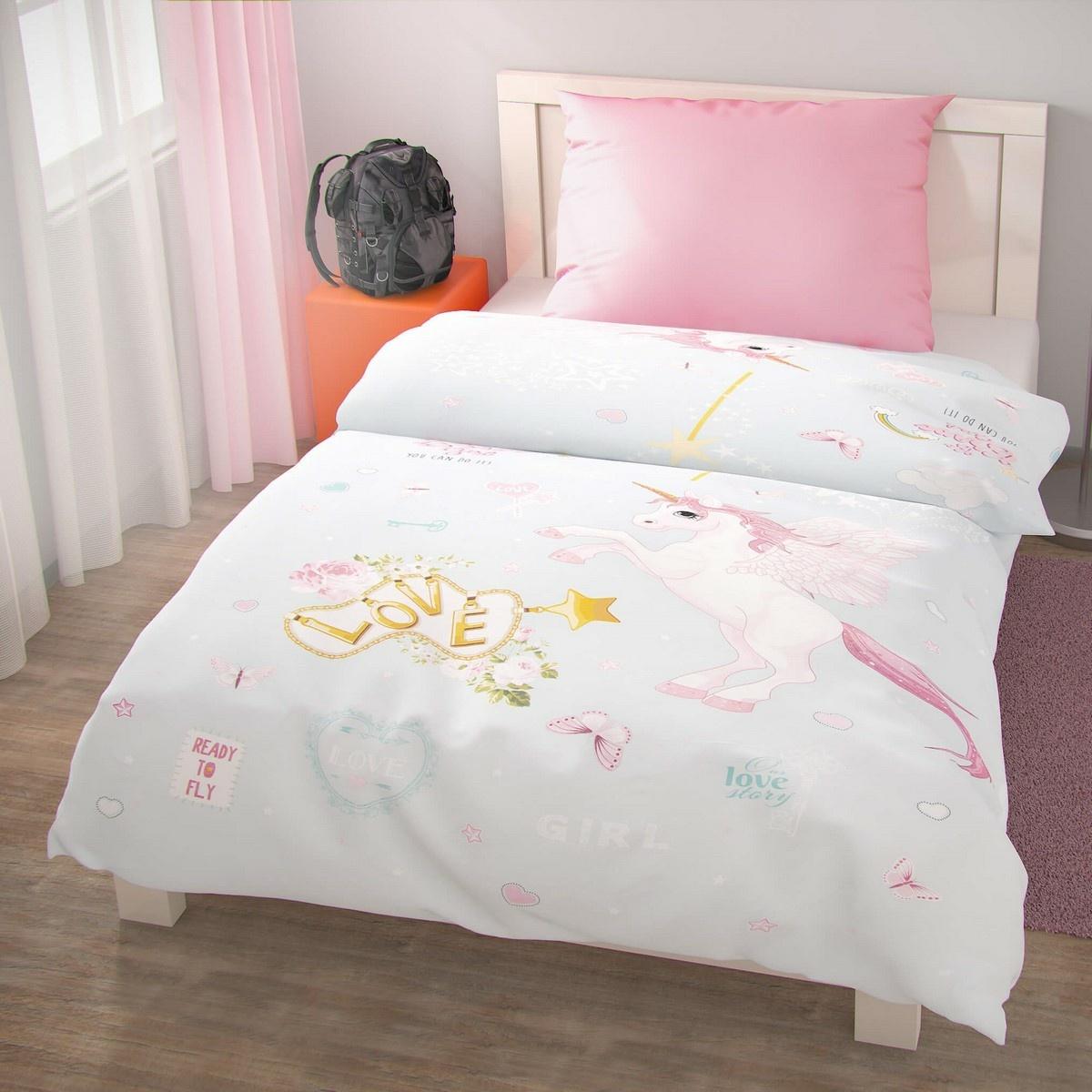 Kvalitex Detské bavlnené obliečky Pegas, 140 x 220 cm, 70 x 90 cm, ružová, 140 x 220 cm, 70 x 90 cm