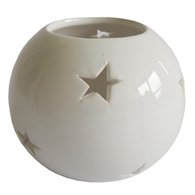 StarDeco Dekorativní svícen Hvězdičky bílá, 10 cm