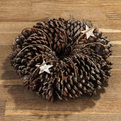 Veniec so šiškami a brezovými hviezdami pr. 25 cm, prírodná