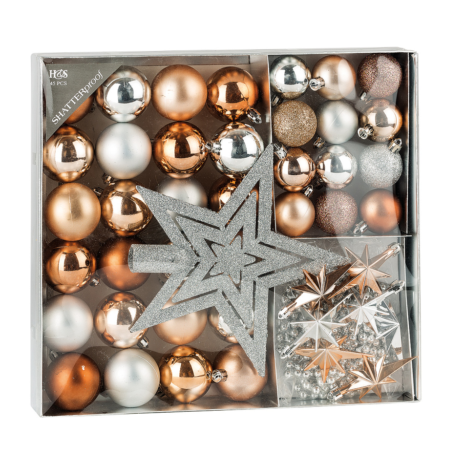 Sada vánočních ozdob Luxury oranžová, 45 ks