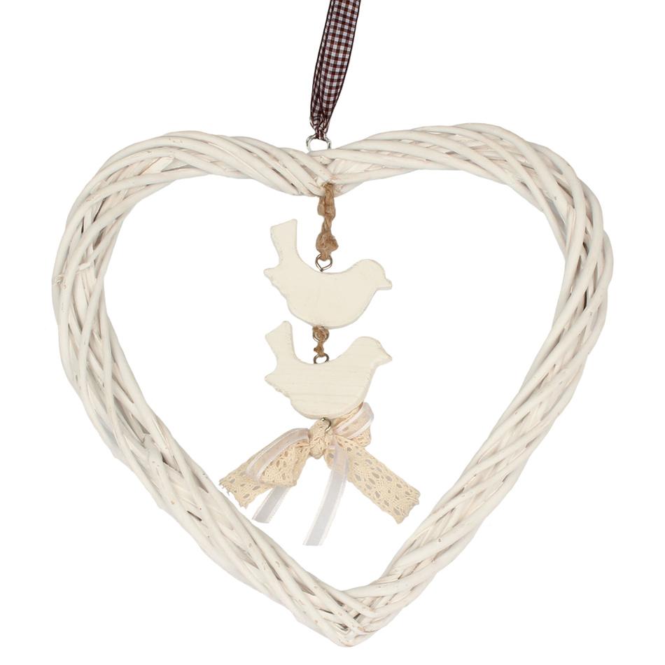 Závesná dekorácia Ratanové srdce s vtáčikmi, biela