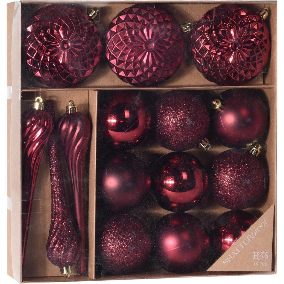 Sada vánočních ozdob Tolentino červená, 15 ks