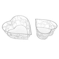 Sada dekoračných kovových košíkov Wire heart, 2 ks