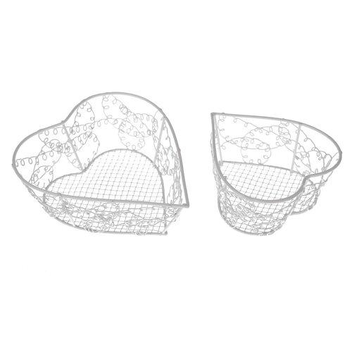 Sada dekoračních kovových košíků Wire heart, 2 ks