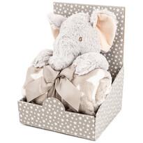 Elefant din pluș 28 cm, cu pătură fleece, 74 x 100 cm, pachet cadou