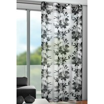 Sam virágos függöny karikákkal, fekete, 135 x 245 cm