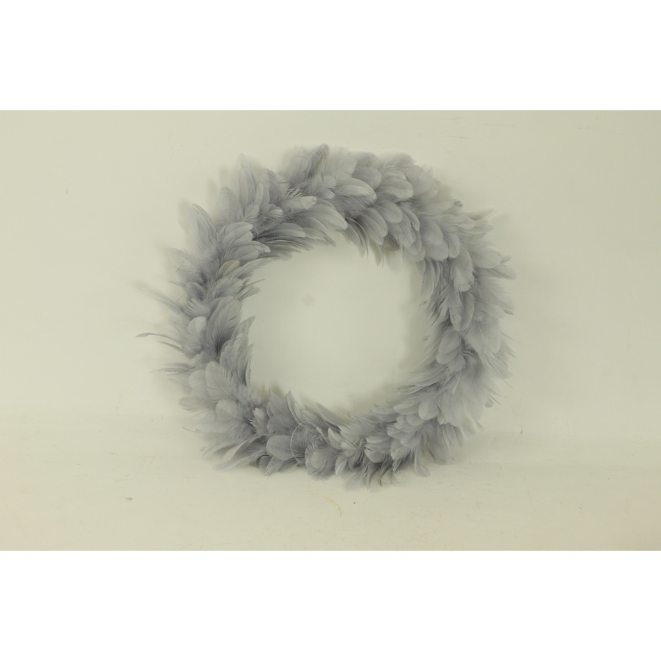 Vánoční věnec Pírka šedá, 35 cm