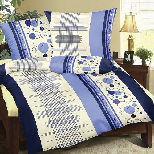 Bellatex Povlečení bavlna Modrá mřížka, 140 x 220 cm, 70 x 90 cm
