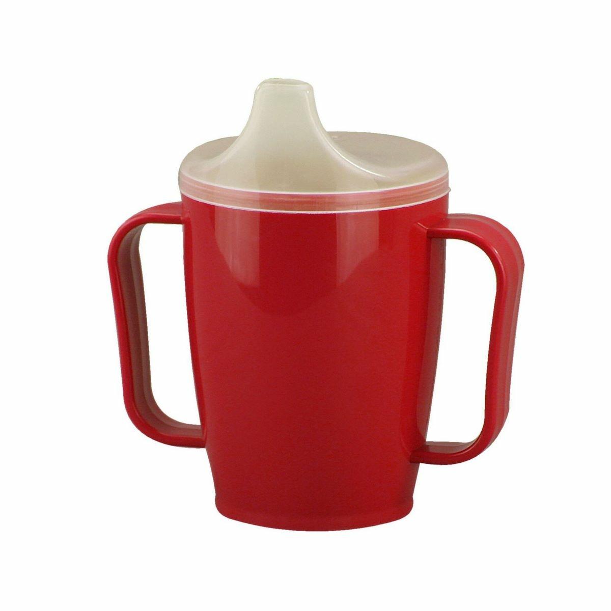 Hrnek s pítkem se dvěma víčky 250 ml, červená
