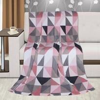 Pătură Bellatex Kemping Plus Triunghiuri, roz, 150 x 200 cm