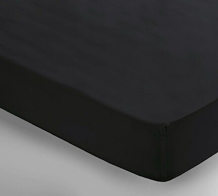 Saténové prostěradlo Uni černá, 150 x 240 cm