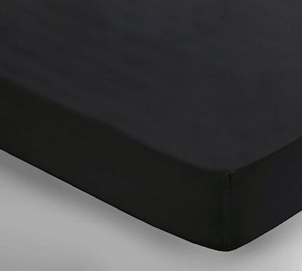 Saténové prostěradlo Uni černá, 2 ks 150 x 240 cm