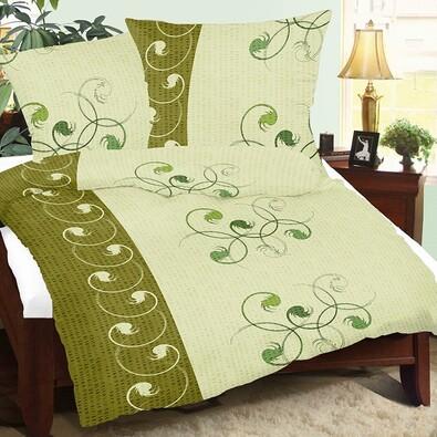 Lenjerie pat 2 pers. Dansul verde, creponată, 240 x 220 cm, 2 buc 70 x 90 cm