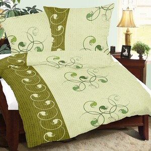 Krepové povlečení Rej zelená, 140 x 220 cm, 70 x 90 cm