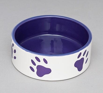 Keramická miska Trixie 0,3l/12cm - bílá/fialová +