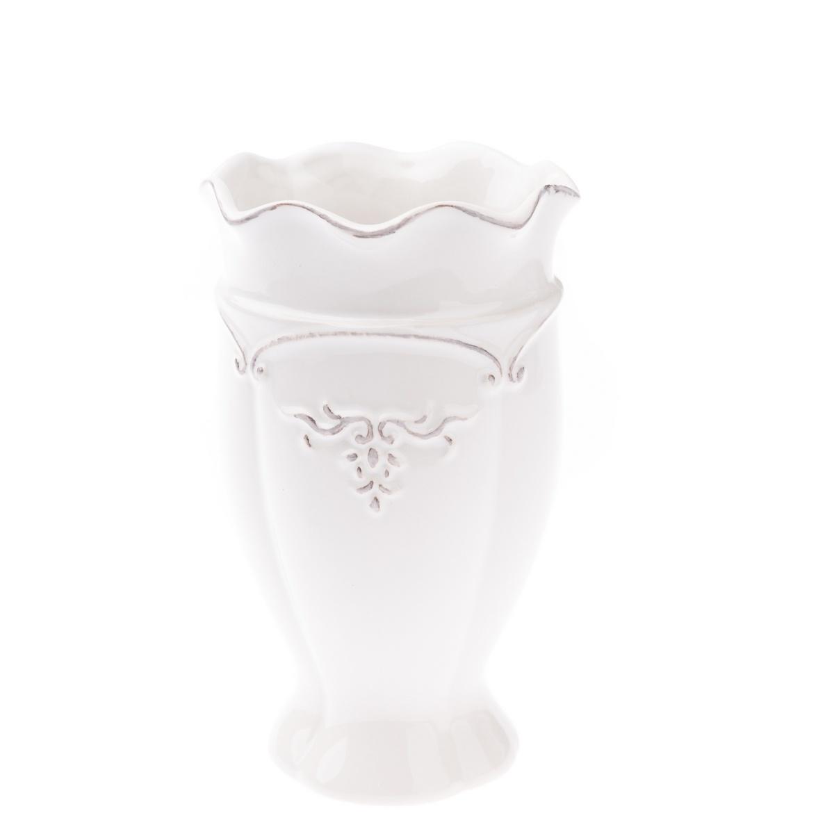 Keramická váza Vallada bílá, 11 x 18 x 11 cm
