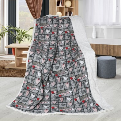Beránková deka Abela Srdce DUO, 150 x 200 cm