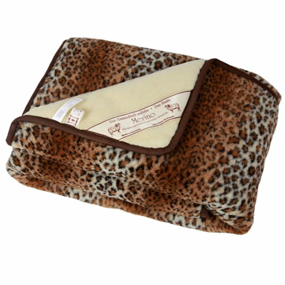 Modom Vlněná denní deka Merino leopard, 140 x 200 cm,