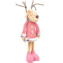 Vianočná textilná dekorácia Pink Reindeer Boy, 60 cm