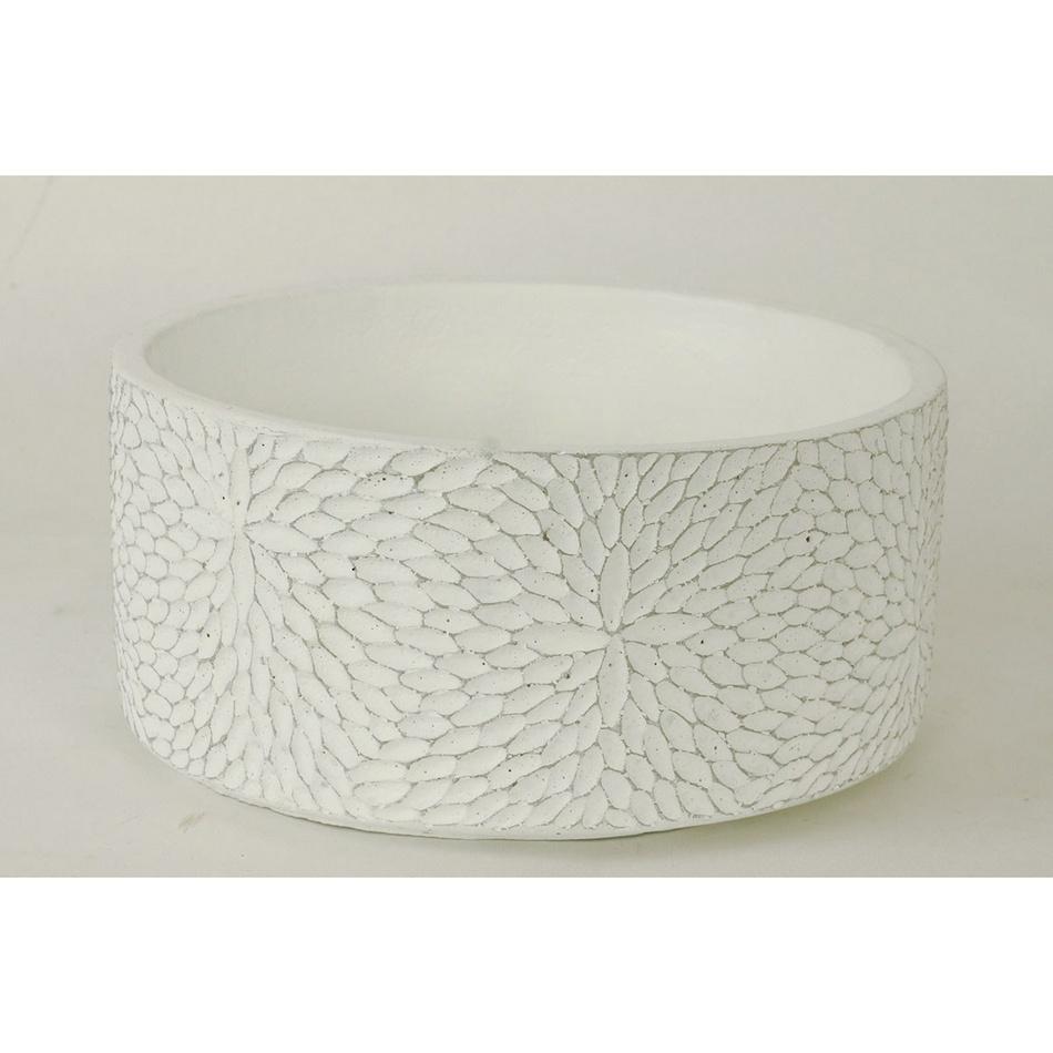 Autronic BCO759698 Betonový obal na květináč Flower bílá, 10 cm