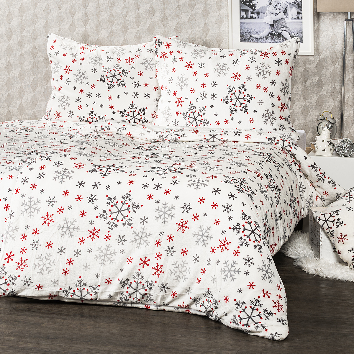 4Home obliečky mikroflanel Snowflakes, 140 x 220 cm, 70 x 90 cm