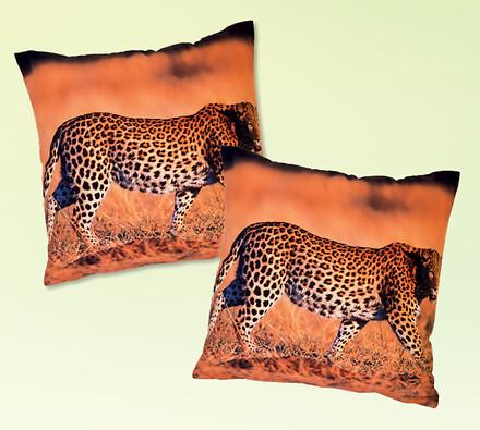 Povlaky na polštářky leopardi, 40 x 40 cm, sada 2 ks