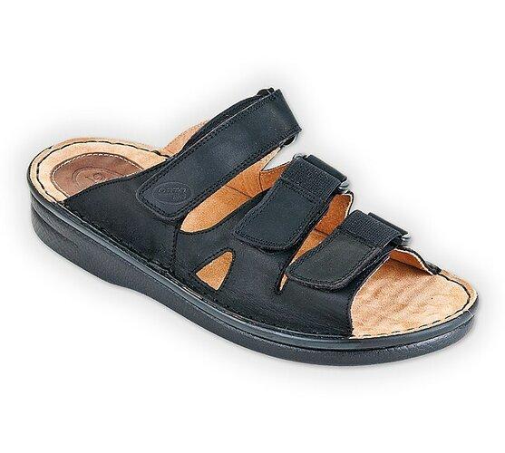 Pánske papuče na suchý zips ORTO, čierne, 43