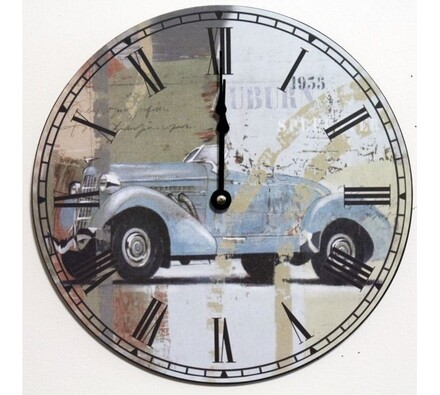 Nástěnné hodiny modrý automobil