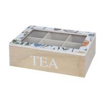 Koopman Box na čajové sáčky Květina, bílá