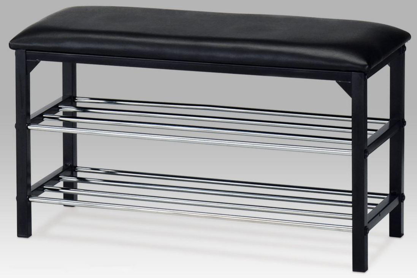 Botník/taburet 2 patra, černá, 83168-13 BK