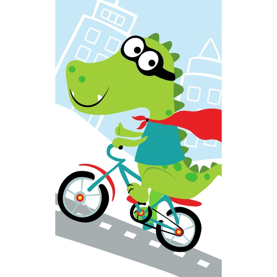 Krokodil biciklin gyermek törölköző, 30 x 50 cm