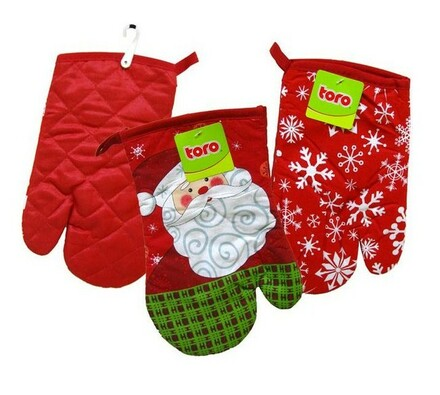 Kuchyňská chňapka s vánočním motivem, červená