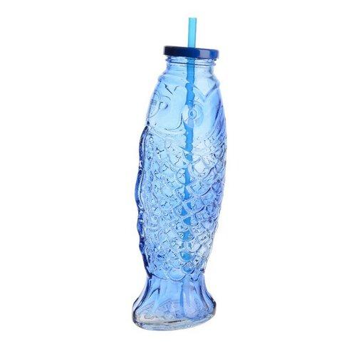 Sklenená fľaša so slamkou Fish modrá, 25,5 cm