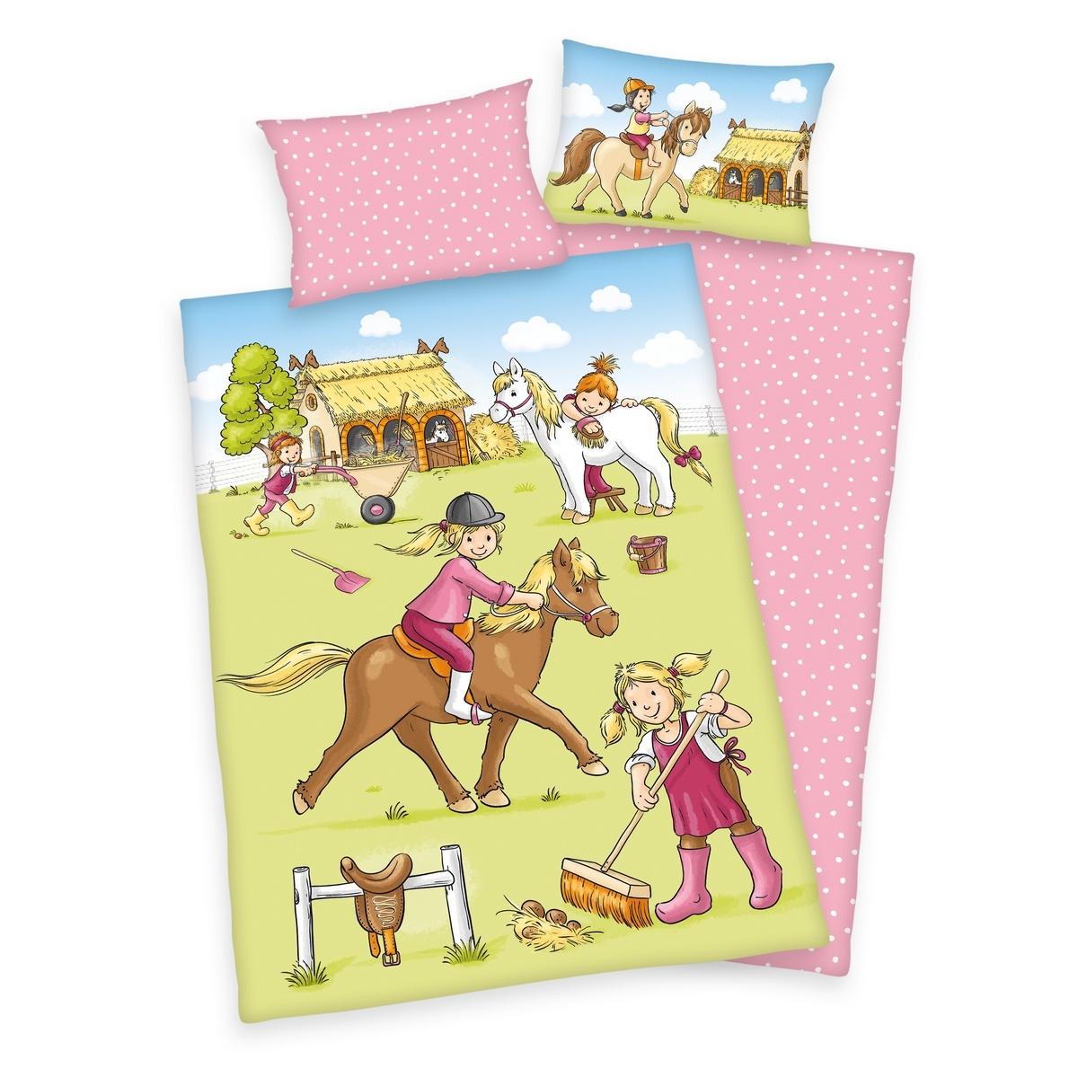 Herding Detské bavlnené obliečky do postieľky Ponyhof, 100 x 135 cm, 40 x 60 cm