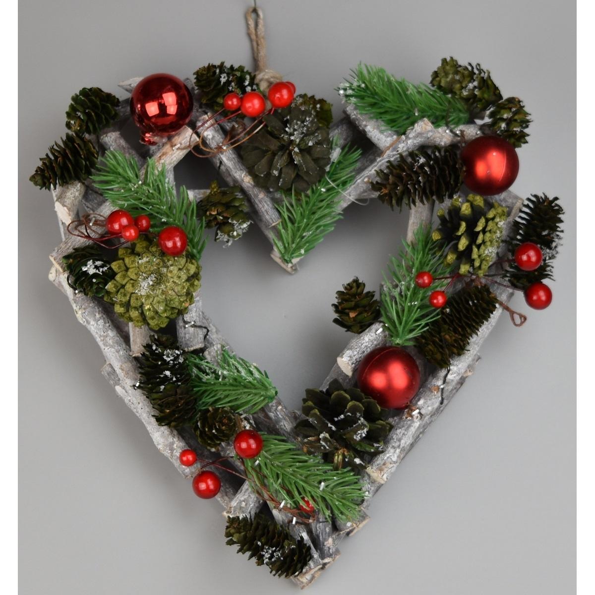 Vánoční závěsné srdce Green pine, 23 x 24 cm