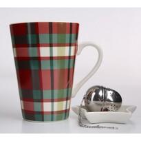 Altom Victoria Red Cube porcelánbögreszűrővel, 450 ml