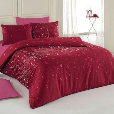 Lenjerie de pat, din bumbac, Delux Carla, vişiniu, 140 x 220 cm, 70 x 90 cm